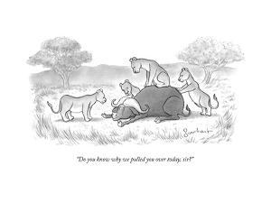 """""""Do you know why we pulled you over today, sir?"""" - New Yorker Cartoon by David Borchart"""