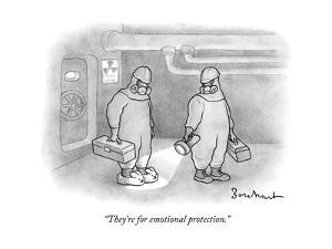 """""""They're for emotional protection."""" - New Yorker Cartoon by David Borchart"""