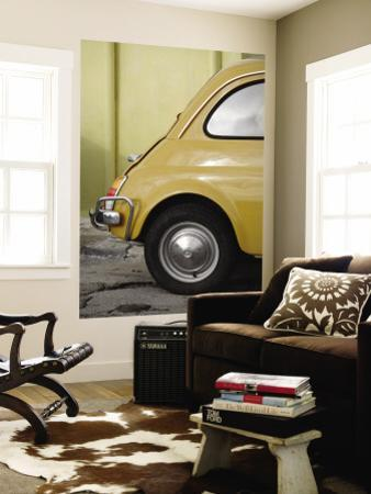 Yellow Fiat 500 Parked Against Wall, Gallipoli