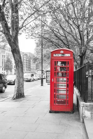 London Red Phone Boxes on Black and White Landscape