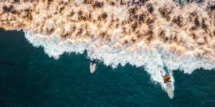 Aerial drone photo of surfers riding Pacific Ocean waves in San Diego, California at Sunset Cliffs-David Chang-Photographic Print