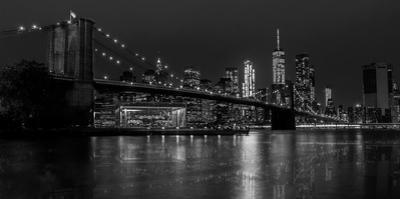 Black and white Manhattan skyline from Brooklyn Bridge park with reflection in the East River by David Chang