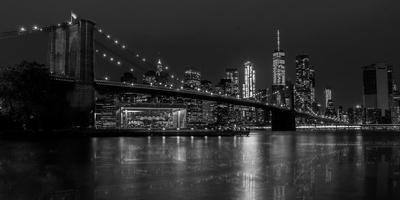 Black and white Manhattan skyline from Brooklyn Bridge park with reflection in the East River