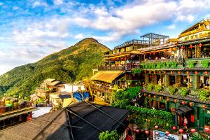 Jiu Fen (Spirited Away) overlook in Taiwan with rich, vibrant colors by David Chang