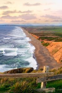 Sunset along Pt Reyes Seashore, San Francisco with oceans breaking along the California coast by David Chang