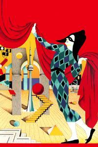Pierrot Holding Curtain on Stage with Abstract Decoration by David Chestnutt