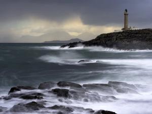 Ardnamuchan Lighthouse in Winter Storm at Sunset, Ardnamurchan, UK by David Clapp