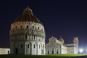 Baptistery (Battistero Di San Giovanni), Duomo and Leaning Tower of Pisa, Piazza Dei Miracoli, Ital by David Clapp
