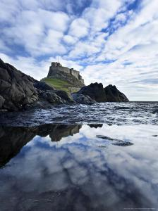 Castle Reflected in Pool with Mackerel Sky, Northumberland, UK by David Clapp