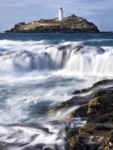 Godrevy Lighthouse in Large Waves, Conwall, UK by David Clapp