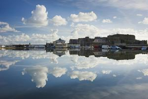 Guernsey Yacht Club and Castle Cornet in the Still Reflections of a Model Boat Pond, St Peter Port by David Clapp