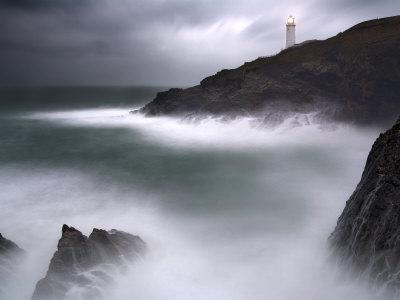 Trevose Lighthouse in a Storm, Cornwall, UK