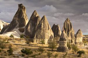 Unusual Rock Formations in the Rose Valley, Cappadocia, Anatolia, Turkey, Asia Minor, Eurasia by David Clapp