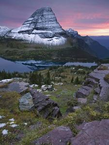 Bearhat Mountain and its Reflection in Hidden Lake at Sunset in the Fall, Glacier National Park by David Cobb