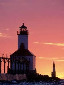 Sunset at Michigan East Pier Lighthouse, IN by David Davis