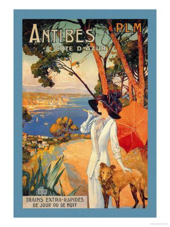 Antibes, Lady in White with Parasol and Dog