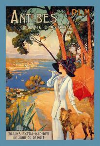 Antibes, Lady in White with Parasol and Dog by David Dellepiane