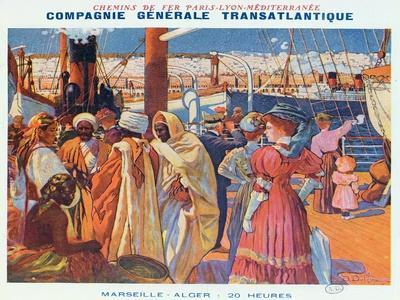 Poster Advertising the 'Compagnie Generale Transatlantique' Boat Service