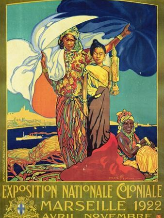 Poster Advertising the 'Exposition Nationale Coloniale', Marseille, April to November 1922 by David Dellepiane