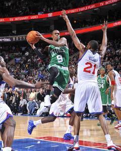 Boston Celtics v Philadelphia 76ers  Rajon Rondo and Thaddeus Young · David  Dow 7a4f27c84