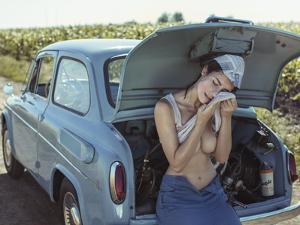 Field, Heat, Girl and Car. by David Dubnitskiy