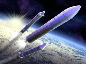 Ariane 5 Launch of Envisat, Artwork by David Ducros