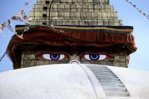 Eyes of a Temple Stare Out in Katmandu by David Edwards