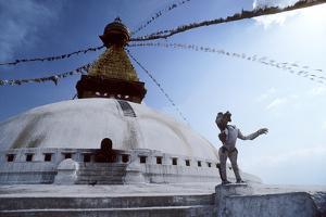 Flags Fly at Swayambunath Temple in Katmandu by David Edwards