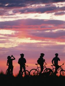 Silhouetted Bikers against a Twilight Sky by David Edwards