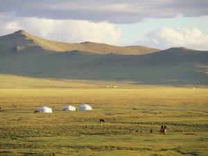 Steppeland Gers (Yurts) and Riders, Zavkhan, Mongolia by David Edwards