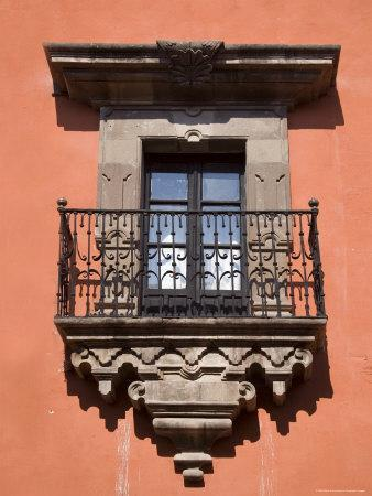 French Doors and a Wrought Iron Balcony in a Building, San Miquel de Allende, Mexico