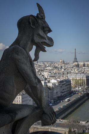 Gargoyle Atop Notre-Dame Cathedral in Paris, France