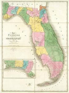 Map of Florida, c.1839 by David H. Burr