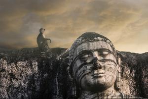 A Monkey and the Head of the Gal Vihara Standing Buddha Statue at Polonnaruwa, Sri Lanka by David Hiser