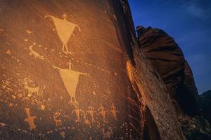 Anasazi Rock Art in Mill Creek Canyon Just Outside Moab at Dusk by David Hiser