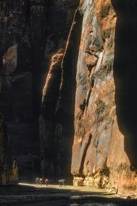 Hikers Below Sandstone Cliffs in the Paria Canyon-Vermillion Cliffs Wilderness by David Hiser