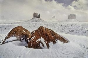 Looking Out to West Mitten, Closer, East Mitten and Merrick Butte in Winter by David Hiser