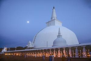Ruvanveliseya Dagaba under a Full Moon During the Poson Festival by David Hiser
