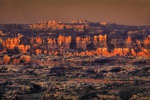 Sunrise over the Needles District, View Westward from Canyonlands Overlook by David Hiser