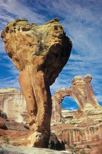 The Molar, a Natural Sandstone Formation, Stands before Angel Arch on the Skyline by David Hiser