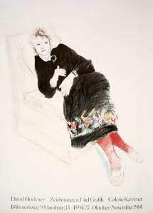 Celia In A Black Dress With Colored Border by David Hockney