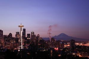 Steamy Seattle Skyline at Dawn by David Hogan