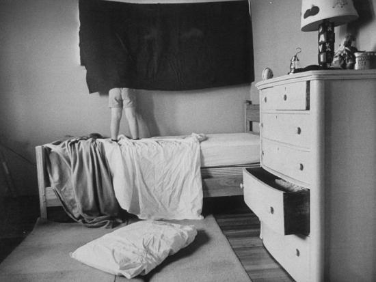 David Hoover Exploring World Outside His Bedroom Window Photographic Print  by Allan Grant | Art com