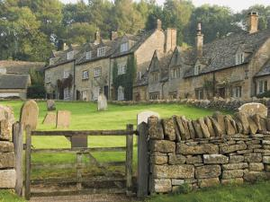Dry Stone Wall, Gate and Stone Cottages, Snowshill Village, the Cotswolds, Gloucestershire, England by David Hughes