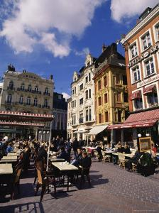 Flemish Houses and Cafes, Grand Place, Lille, Nord, France by David Hughes