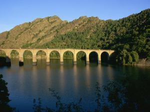 Lac De Villefort and Railway Viaduct, Cevennes, Lozere, Languedoc-Roussillon, France, Europe by David Hughes