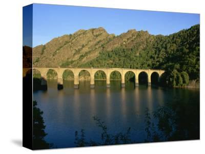 Lac De Villefort and Railway Viaduct, Cevennes, Lozere, Languedoc-Roussillon, France, Europe
