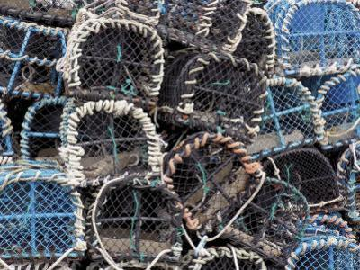 Lobster Pots in Fishing Harbour at Loguivy, Cote De Granit Rose, Cotes d'Armor, Brittany, France by David Hughes