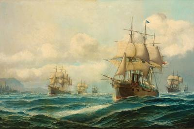 Vice-Admiral Phipps Hornby's Squadron Steaming Through the Dardanelles on Passage to…