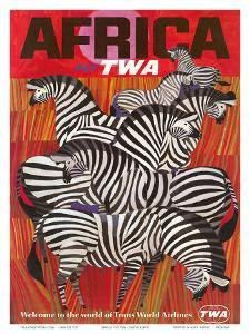 Africa - Fly TWA (Trans World Airlines) - Zebras by David Klein